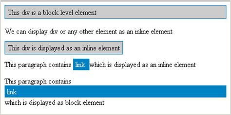 How to display inline elements as block elements and visa